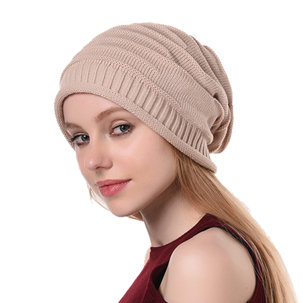Newest hot hatwomens winter knit slouchy beanie baggy warm soft chunky stripe hat hat ski chic cap