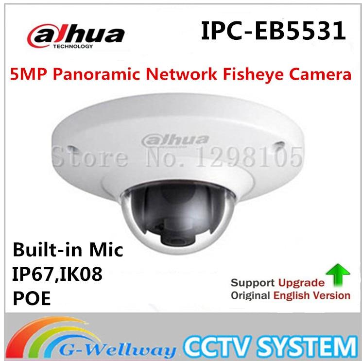 DAHUA IPC-EB5531 5MP POE IP67 H.265 Built-in Mic Panoramic Network Fisheye Camera replace IPC-EB5500 IP Camera without logo