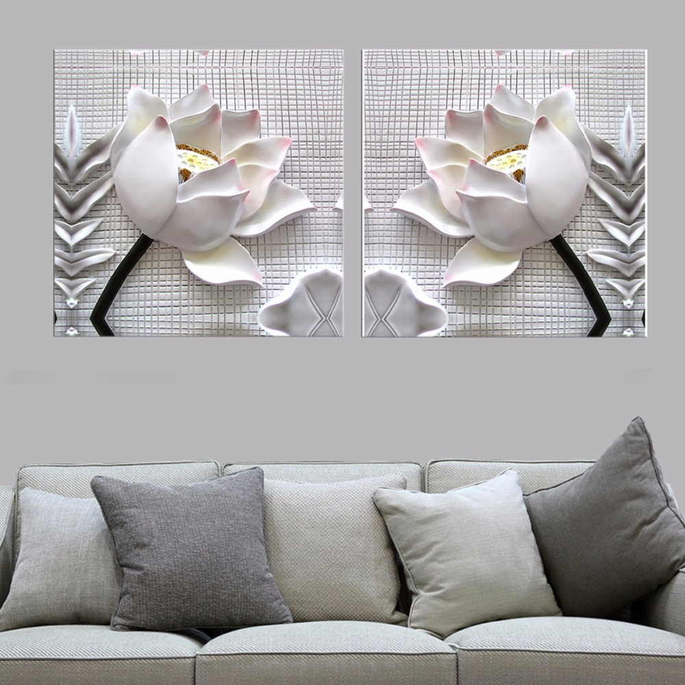 2 unids moderna 3d flores de loto blanco definici n Decoracion minimalista definicion