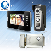 7inch Wired Color Video Doorphone Intercom Doorbell System Kit Set With Outdoor IR Camera Black Monitor