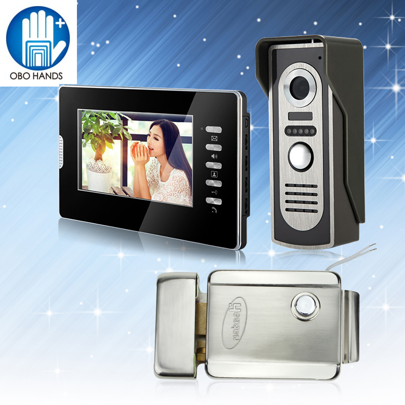 7inch Wired Color Video Doorphone Intercom Doorbell System Kit Set with Outdoor IR Camera+Black Monitor+DC 12V Electric Lock 7 inch video doorbell tft lcd hd screen wired video doorphone for villa one monitor with one metal outdoor unit rfid card panel