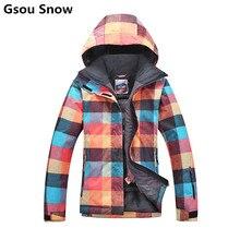 Gsou snow mujeres de la chaqueta de snowboard chaquetas de esquí traje de esquí de invierno trajes para la nieve ropa de esquí chaquetas de esqui femenino con orange controles