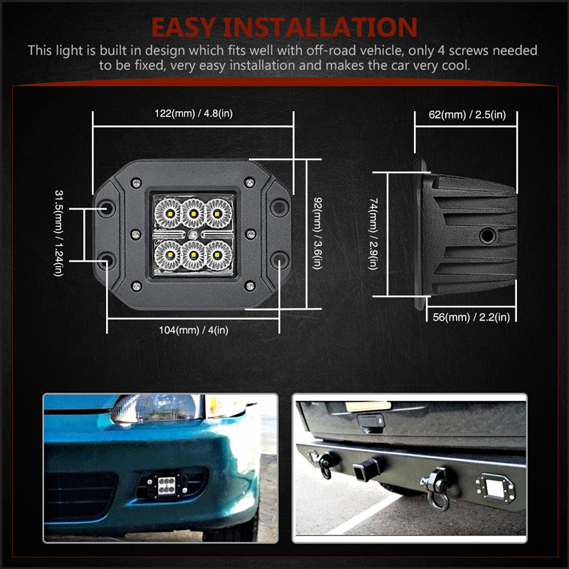 Image 5 - 18W Car Headlight LED Work Light Bar Spotlight for Off Road ATV UTV Kamaz UAZ 4x4 car boat Auto Driving Fog Light Car StylingLight Bar/Work Light   -