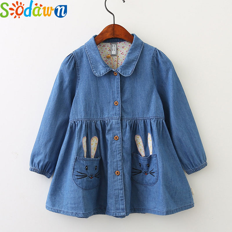 Sodawn Autumn New Casual baby Girls clothes Lapel Cartoon Embroidery Pocket Long Sleeve Girl Cowboy Dress Princess Dress