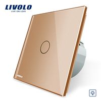 Livolo EU Standard Dimmer Switch Wall Switch Golden Color Glass Panel Wall Light Touch Dimmer Switch