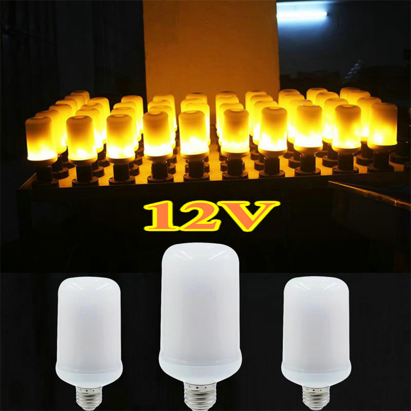 LED 12V Flame Lamp E27 E26 Light Bulb Flame Effect Fire Lamps Flickering Emulation Creative Lights For Christmas Holiday Decor