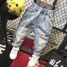 Винтаж отверстие детей ковбойский штатив моды раза джинсы для маленьких мальчиков Весна высокого класса из дышащего хлопка для мальчиков рваные джинсовые штаны