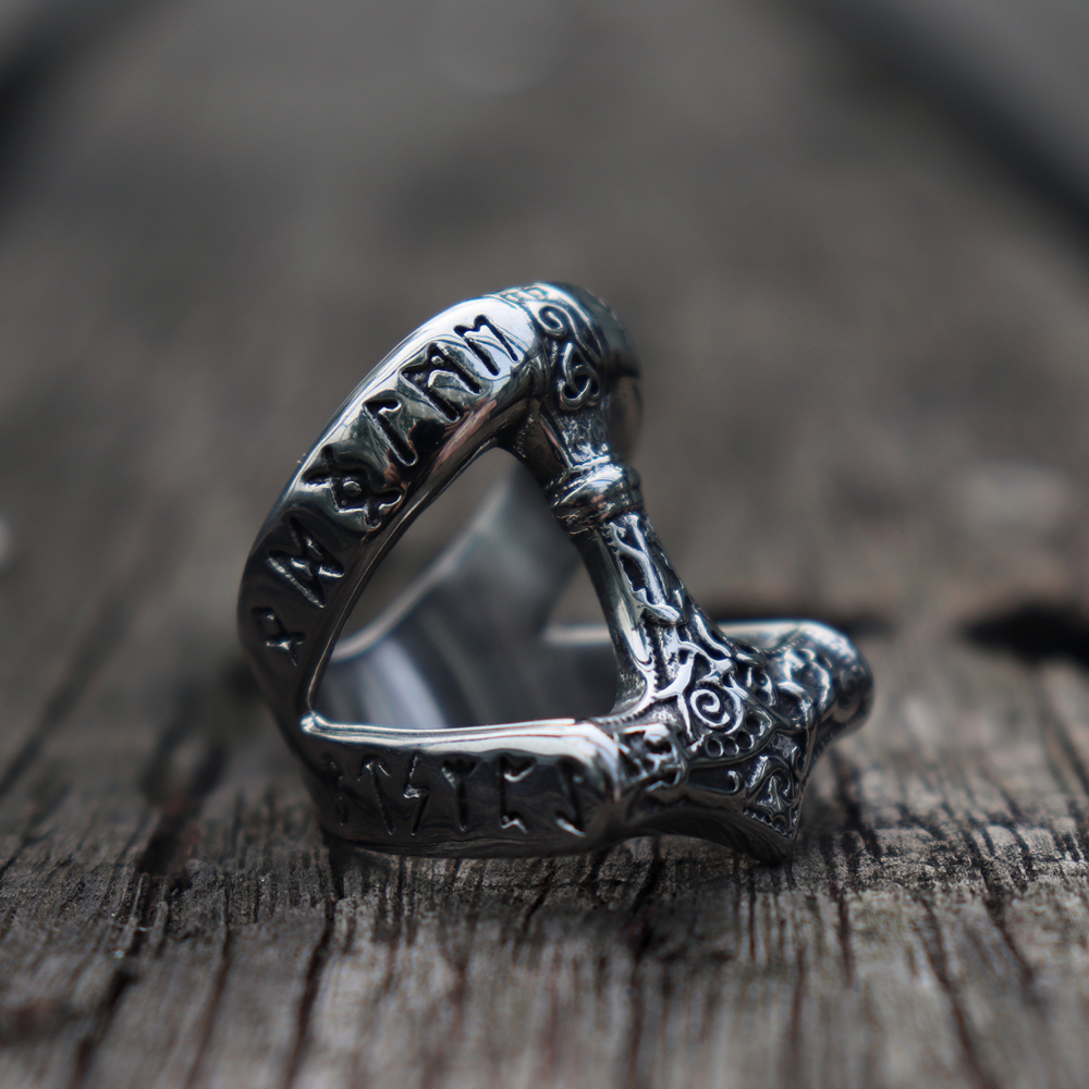 Viking Mjolnir Thor's Hammer Rune Ring Men's