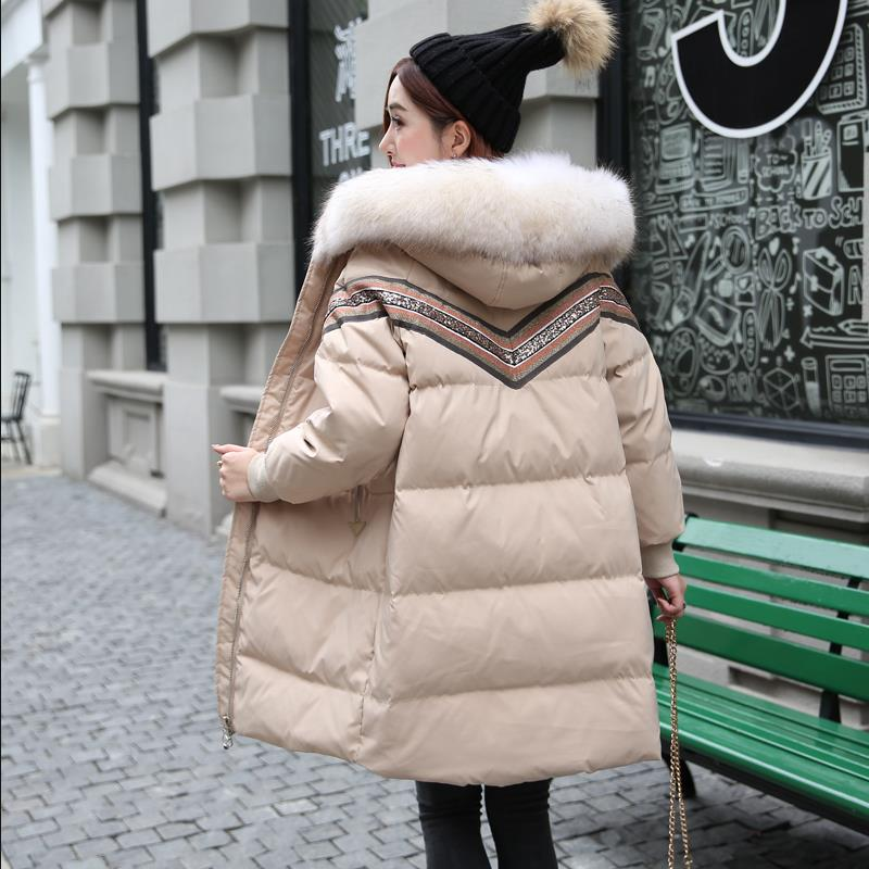 Sequined beading   Down     coats   female big real fur collar duck   down   embroidery net red thick warm   coat   clearance stock wq2467