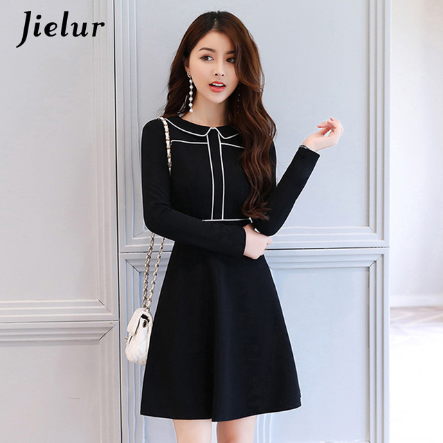 2e74a0ce9e Jielur Office Lady Formal Dress Women Elegant Korean Black Dresses Women  S-XL Autumn Long Sleeve Winter Vestidos Mujer Dropship