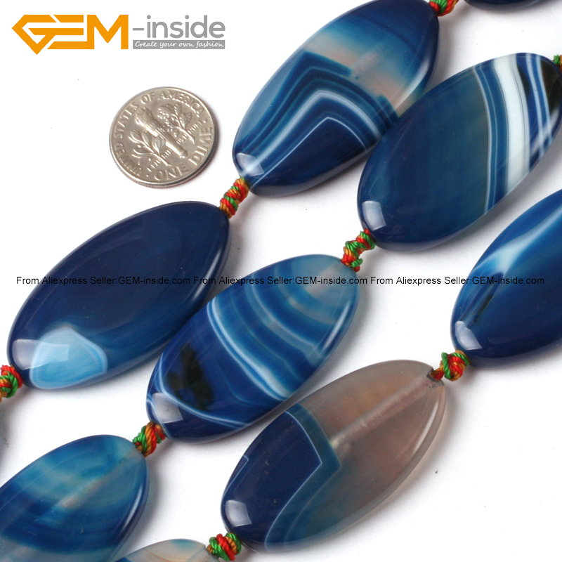 Gem-inside Natural Smooth Flat Oval Banded Blue Agates Stone Beads For Jewelry Making 20X40mm 9 Pcs DIY Jewellery
