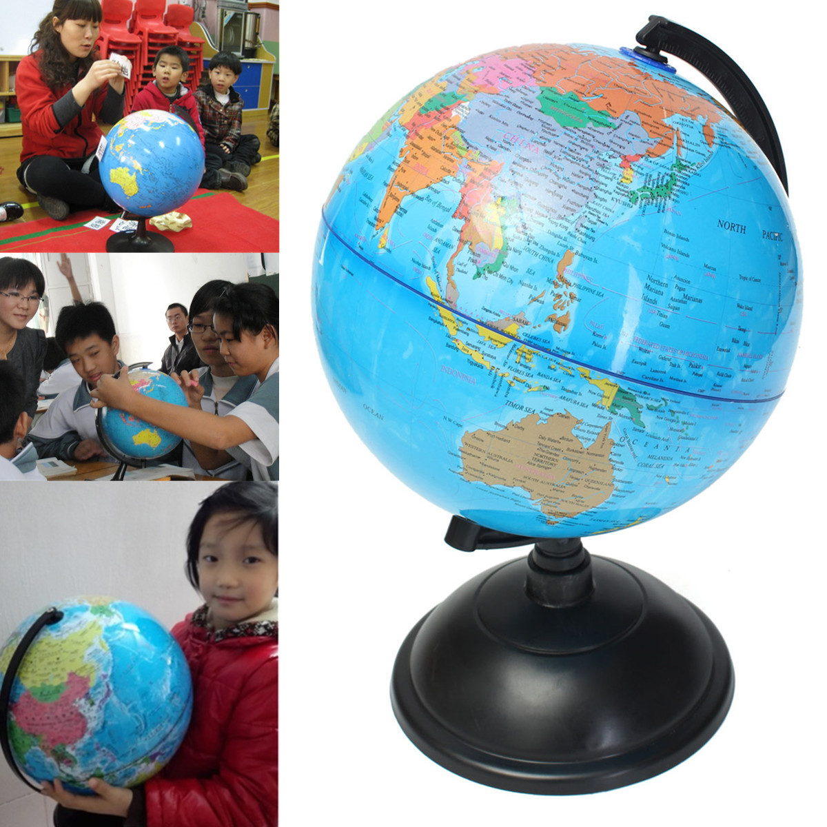 20cm New Plastic Montessori Mini Tellurion Blue Ocean World Globe Map With Swivel Stand Geography Educational Toy Gift амоксициллин сандоз 500 мг n12 табл
