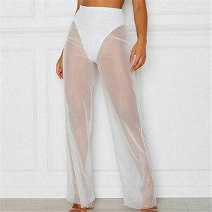 Новые пикантные для женщин однотонные пляжные сетки Sheer Длинные широкие брюки Прозрачный See through море праздник накидка бикини брюк Pantalon