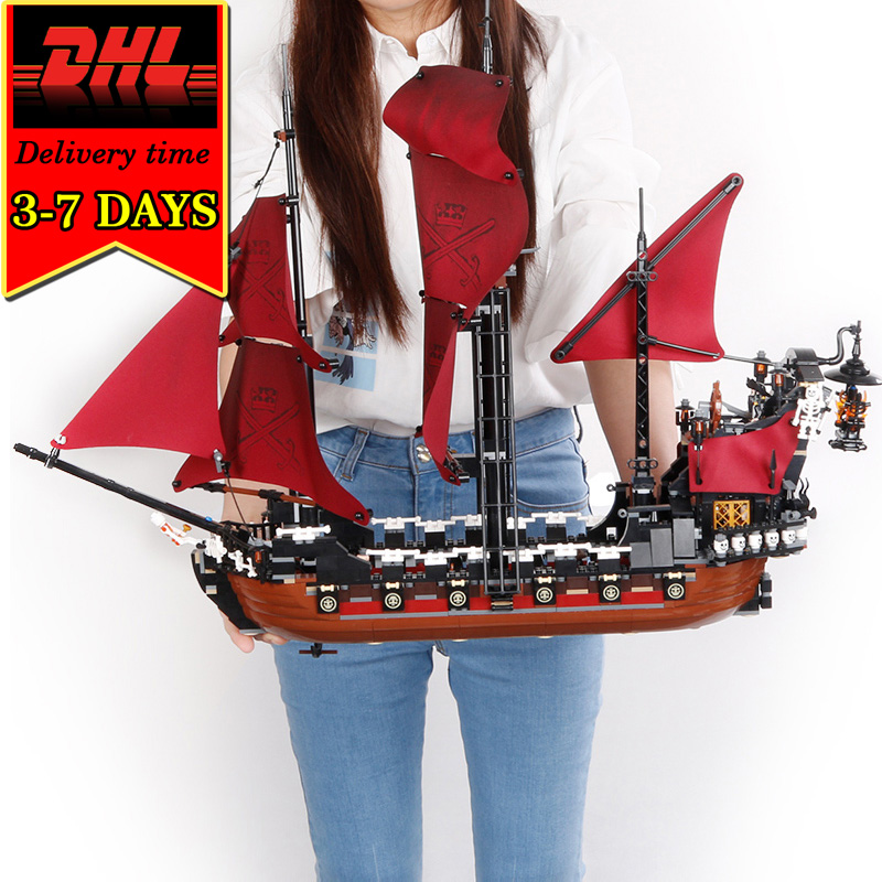 DHL Lepin 16009 Pirate Ship War Military Building Blocks Caribbean Compatible Brick Toy For Children DIY Model kit Boat 1151pcs dhl free shipping lepin 16002 pirate ship metal beard s sea cow model building kits blocks bricks toys compatible legoed 70810