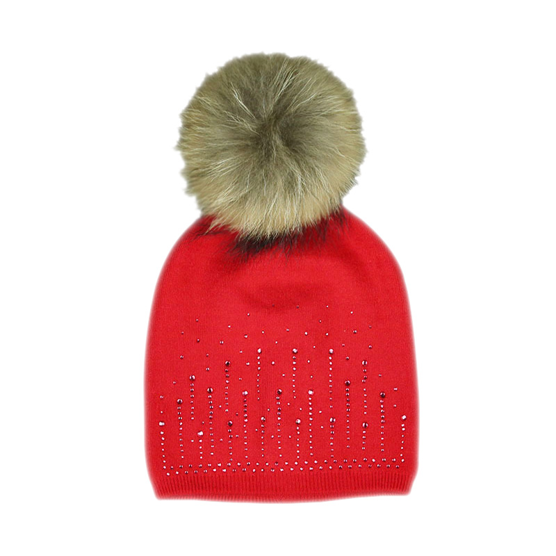 BONJEAN fashion women winter beanie hat Rabbit wool knitted hat  female fur pompom hat Shining Rhinestone cap hats for women women s winter beanie hat wool knitted cap shining rhinestone beanie mink fur pompom hats for women