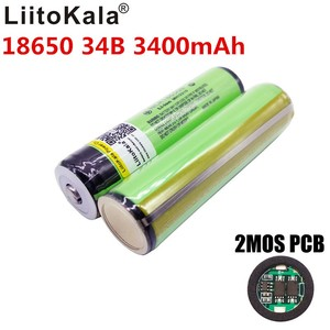 Image 4 - 2 pcs/lot New Original LiitoKala 18650 NCR18650B Rechargeable Li ion battery 3400mAh With PCB Free Shipping