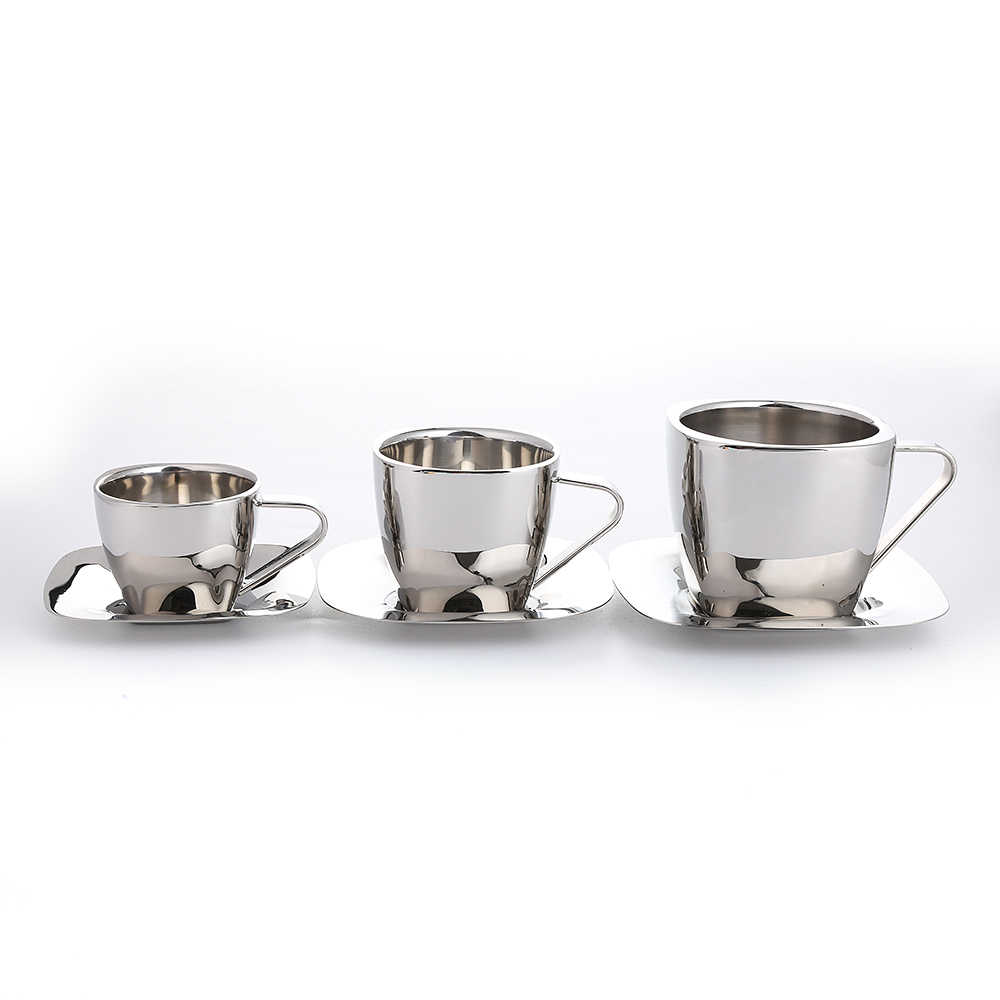 d86cf4d545d Realand Square Stainless Steel Double Wall Espresso Coffee Mug Tea Cup with  Saucer Milk Cappuccino Latte