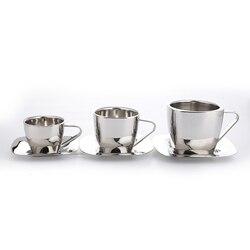 Realand quadrado de aço inoxidável dupla parede café espresso caneca de chá com pires leite cappuccino latte cup conjunto cozinha presente