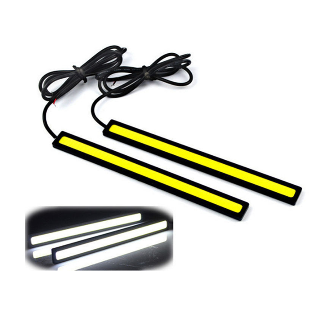 1Pcs Car styling Ultra Bright 12W LED Daytime Running lights DC 12V 17cm Waterproof Auto Car DRL COB Driving Fog lamp suprer bright 2pcs 30cm 12v daytime running lights waterproof car drl cob driving fog lamp flexible led strip car styling