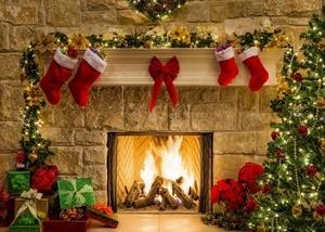 Image 2 - Capisco Christmas Tree Backdrop Fireplace Photo Background White Brick Wall Photography Backdrops Santa Claus Sock Photo Studio