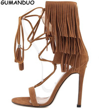 2017 New Fashion Women Pumps Whims Tassels Sandals Cross Straps Roman High Heels Stiletto Shoes Gladiator Sandals Shoes Woman