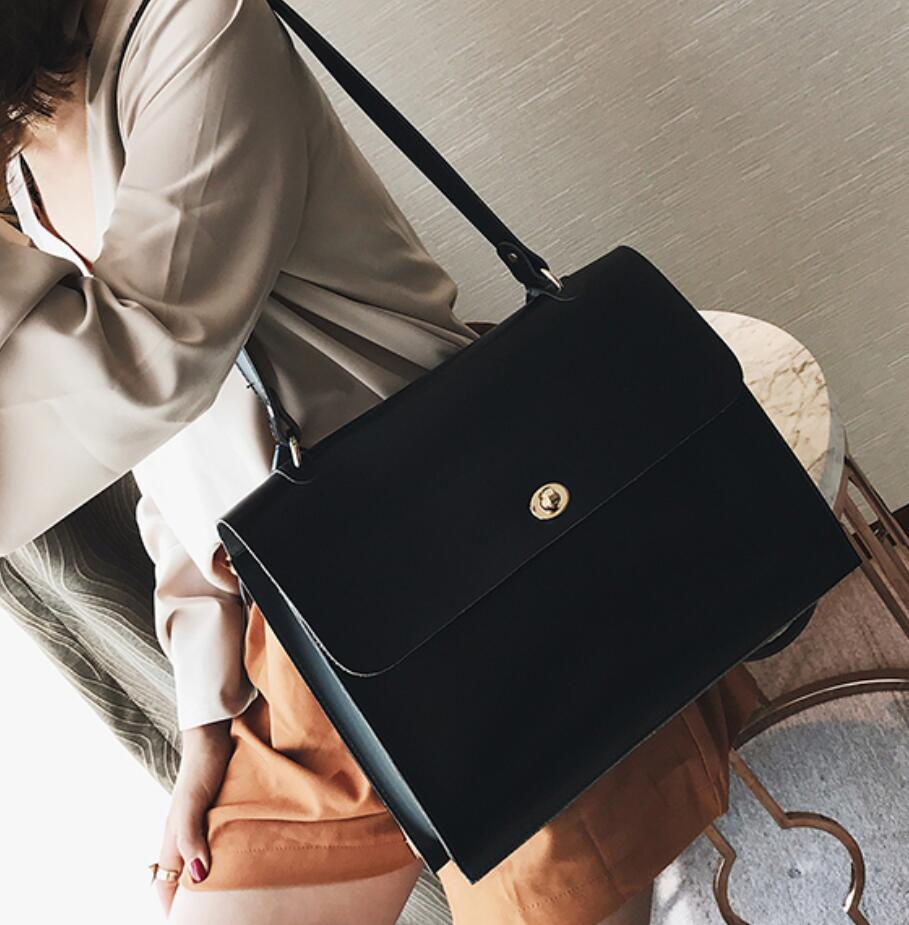 Image 3 - Retro Fashion Female Big Bag 2018 New Quality PU Leather Women's Designer Handbag Ladies Briefcase Tote Shoulder Messenger Bags-in Shoulder Bags from Luggage & Bags