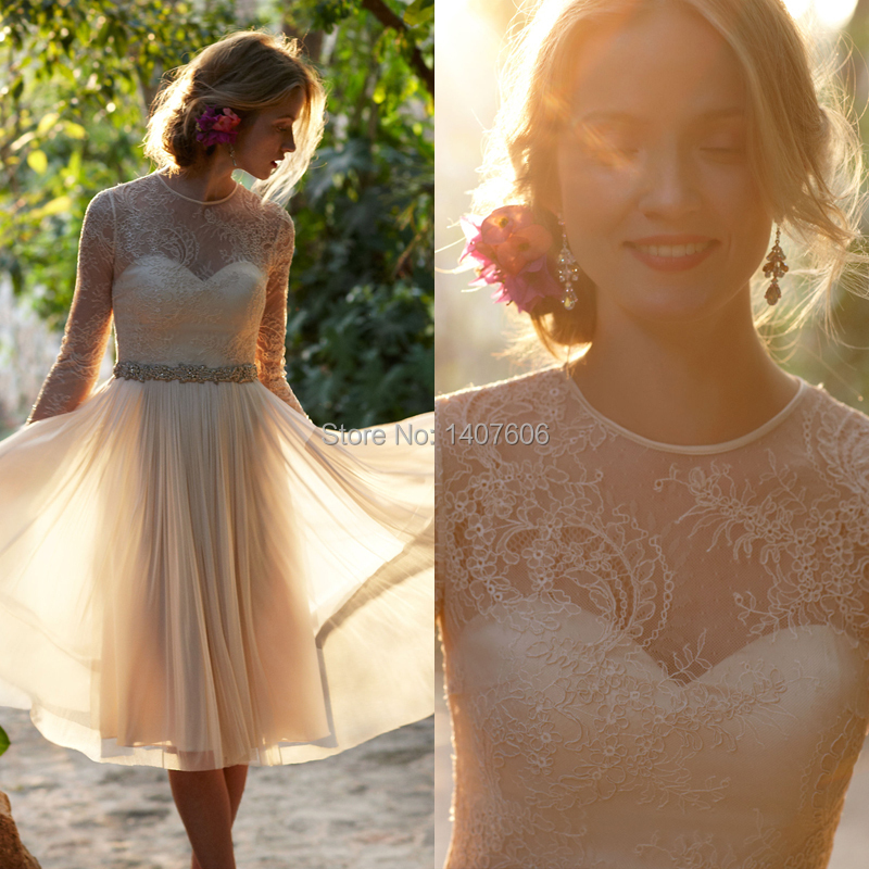 New Arrival 2015 A Line Short Wedding Dress Long Sleeve Country ...