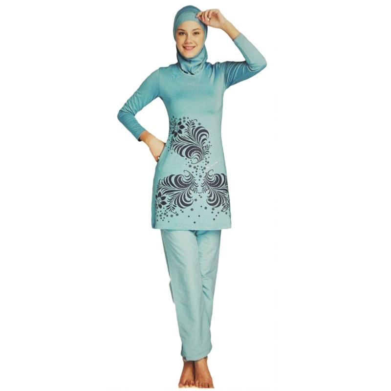 2017 Muslim Modest Swimwear Islamic Swimsuit For Women Full Coverage Hijab Swimwear Swimming Beachwear Burkinis