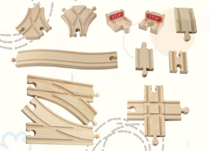 EDWONE Bridge X Rail / Y Rail / Double Crossing Scene Track Accessories And Brio Wooden Train Educational Boy/ Kids Toy