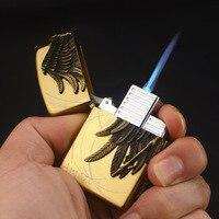 Металлический фонарь турбо зажигалка газовая зажигалка голубое пламя Электронная зажигалка бутан пистолет-распылитель 1300C мини сигары сиг...