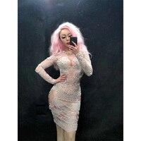 Woman Prom Wear Pearl Nightclub Dress One Piece Bodysuit Sexy Crystal Design Wedding Dj Female Singer Dance Costume