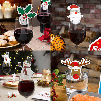 10pcs christmas paper tag name card wedding party wine glass cup decor christmas decoration supplies - Wholesale Christmas Decorations