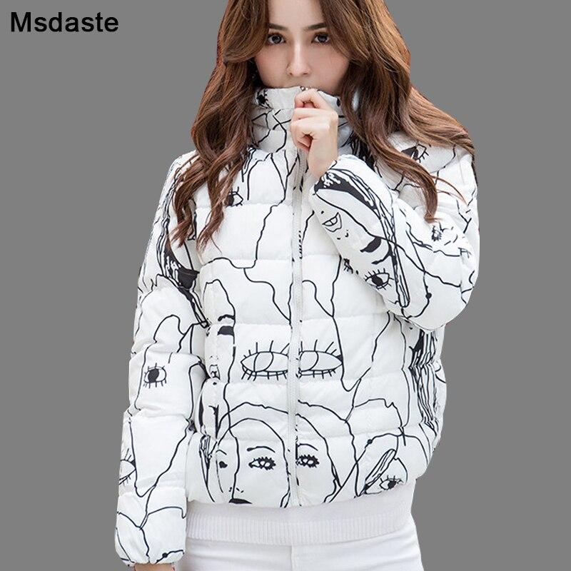 Women 2019 Winter   Parkas   Jackets Warm   Parka   Coats Mujer Chaqueta Cotton-padded Casaco Feminino Vintage Print Casual Woman Jacket