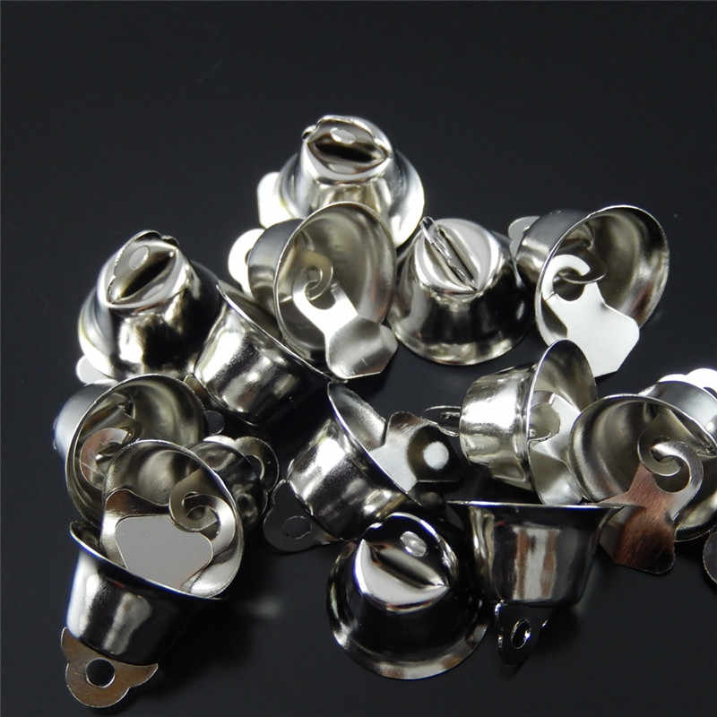 10PCS Alloy Silver Bell Charm Pendants Necklace Accessory Xmas Tree Hanging Decoration Jingle Bell Bracelet DIY Findings