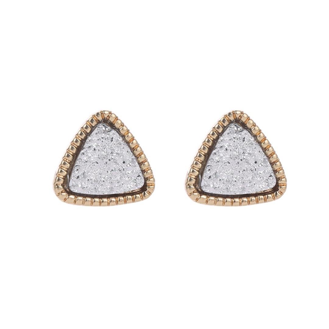 Vintage Mini Polished Rhinestone Crystal Geometric Triangle Earring Stud Women Girl Cute Earring Ear Piercing Jewelry Shellhard