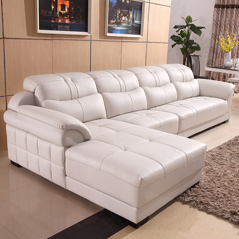 Pu sofa combination modern minimalist living room corner size apartment type pu suit sofa - Apartment size living room furniture ...