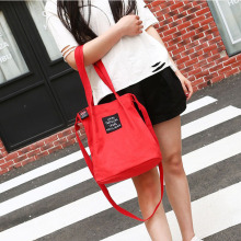 Handbag bucket bag single shoulder inclined simple canvas literary letters Japanese Mori lady
