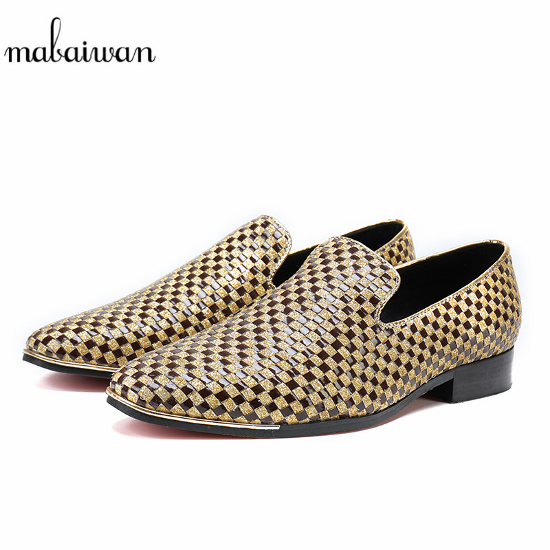 Mabaiwan Fashion Handmade Men Shoes Slipper Loafers Wedding Dress Shoes Men Slip On Party leather Checkered Flats Casual Shoes branded men s penny loafes casual men s full grain leather emboss crocodile boat shoes slip on breathable moccasin driving shoes