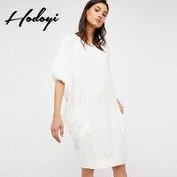Artı Boyutu Kadınlar Beyaz Giyim Yaz Elbiseler Casual Sundress Kore Yüksek Kalite Fener Kol çift cep Ropa Mujer Jurken