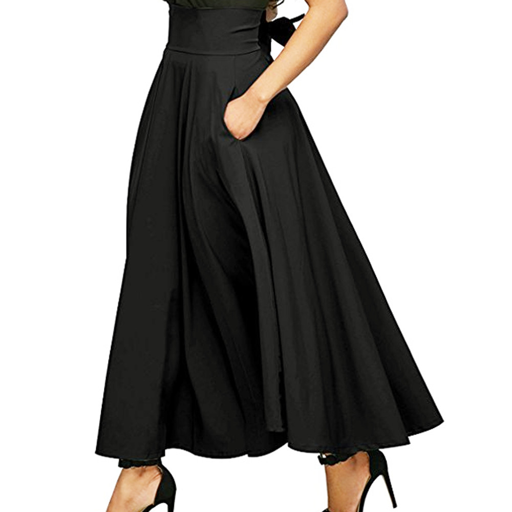 Plus Size XXL New Autumn Winter Women Gray Retro High Waist Pleated Belted Maxi Skirt Vintage Long Skirts 10 JUL25