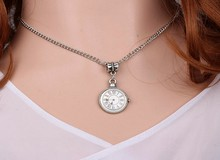 Enamel Watch Necklace Pendant Charms Choker Collar Statement Vintage Silver For Women Fashion Jewelry Accessories Gifts DIY A408(China)