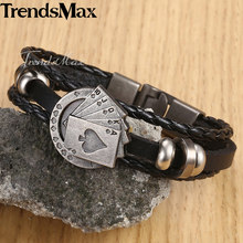 "Lucky Vintage Men's Leather Bracelet Playing Cards Raja Vegas Charm Multilayer Braided Women Pulseira Masculina 8"" LBM108(Hong Kong,China)"
