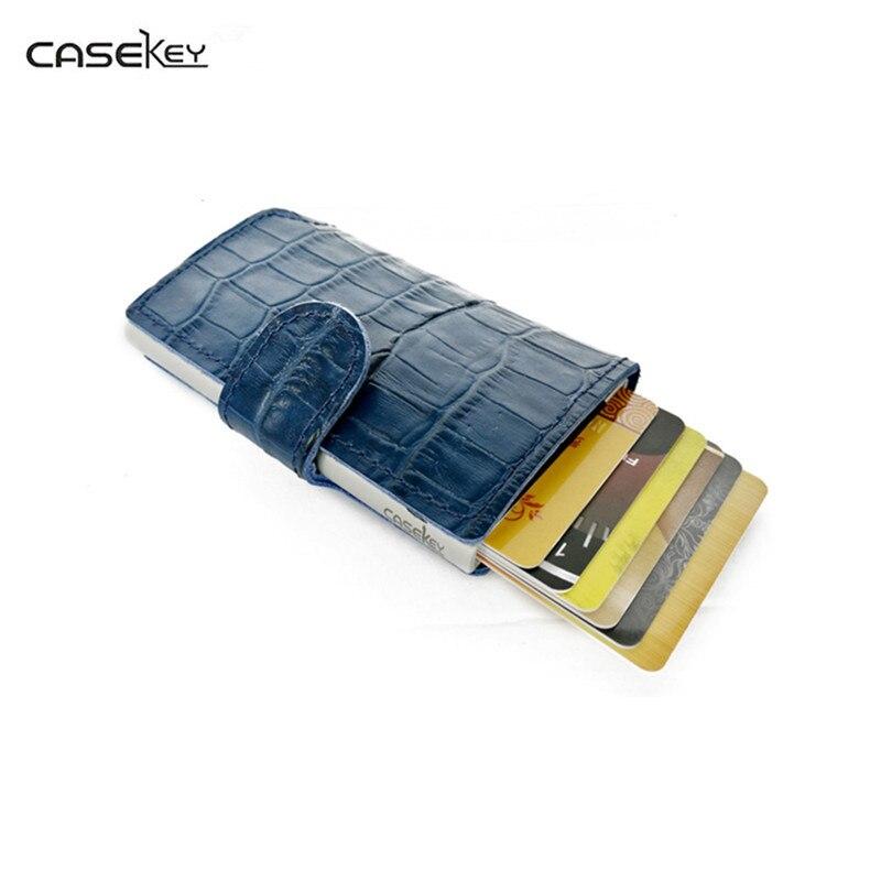 CaseKey Mince En Métal RFID Portefeuille Titulaire de la Carte D'affaires Blindage magnétique Anti-Vol Grande Capacité Carte ID Titulaire Élastique Marque