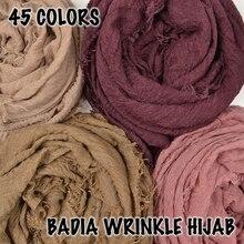 10ชิ้น/ล็อตผู้หญิงCrinkleสีทึบHijabsผ้าพันคอOversizeอิสลามผ้าคลุมไหล่หัวWrapsนุ่มยาวมุสลิมFrayed Wrinkle Cotton Plain Hijab