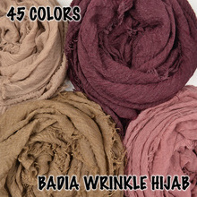 10pcs/lot women crinkle solid hijabs scarf oversize islam shawl head wraps soft long muslim frayed wrinkle cotton plain hijab
