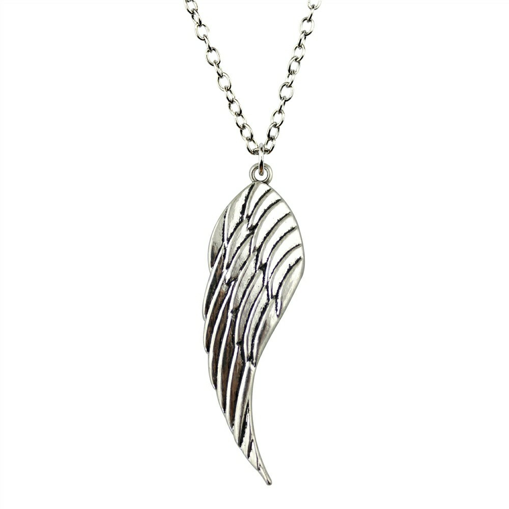 Strong-Willed Jewelry Necklace For Women Antique Silver 52x15mm Wing Pendants Necklace Female Gift Vintage Cheap Sales 50% Necklaces & Pendants