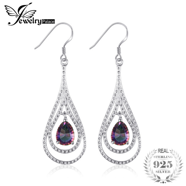 2 4ct Brand New Vintage Fashion Women Natural Fire Rainbow Mystic Topaz Drop Earrings Solid 925 Sterling Silver Whole