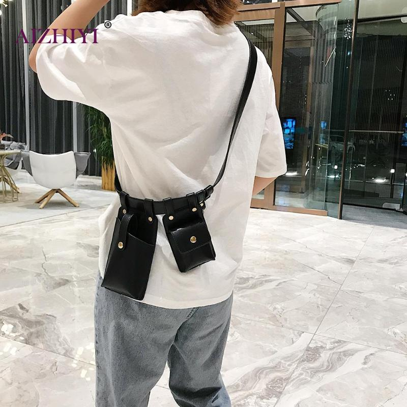 Teen Girls Fashion Punk Letter Print 2 Women Waist Fanny Packs Keychain Casual Female Solid Color PU Leather Chest Crossbody Bag