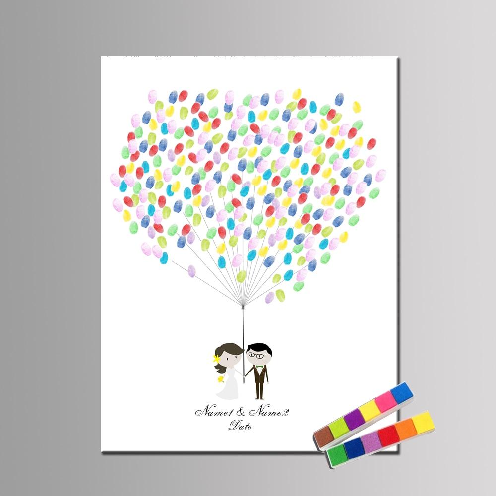 1 комплект персонализировать Свадебная Гостевая книга невеста жених Обручение вывеска для отпечатков пальцев с чернилами Юбилей альтернат...