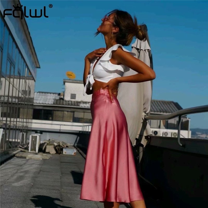 FQLWL Casual Pink Sexy Satin Skirts Womens Elegant A Line High Waist Summer Beach Maxi Skirt Ladies Bodycon Pleated Long Skirt